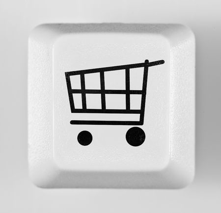 button online shopping on the white photo