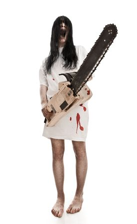 horrific:  horrific madwoman on a white background and gasoline-powered saw