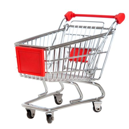 trolley: isolated shopping cart on the white