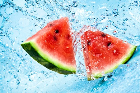 fresh water splash on red watermelon photo