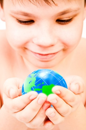 environmental safety: boy and globe