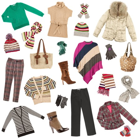garments: Winter warm ladys clothes on a white background