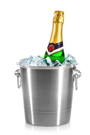 ice bucket: Champagne bottle in a bucket with ice on the white