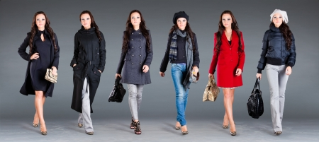 winter clothes: girl in different clothes, autumn winter collection clothes Stock Photo