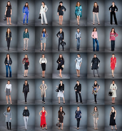 girls in different clothes, collection from 35 pieces photo