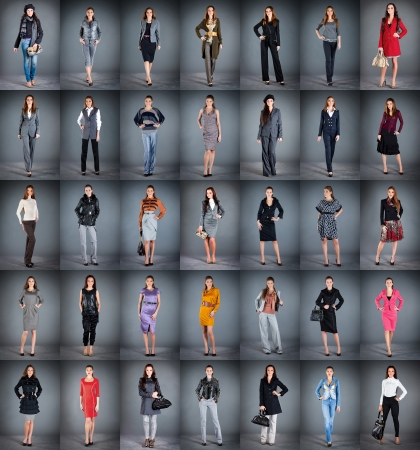 girls in different clothes, collection from 35 pieces Stock Photo - 8241708