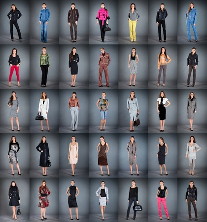 frock coat: girls in different clothes, collection from 35 pieces Stock Photo