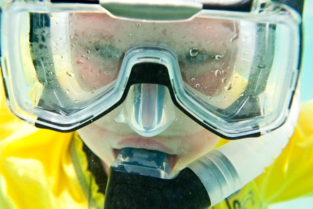 diving mask: boys in the sea, snorkeling the Red sea Stock Photo