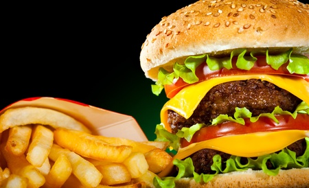 steak sandwich: Tasty hamburger and french fries on a dark background