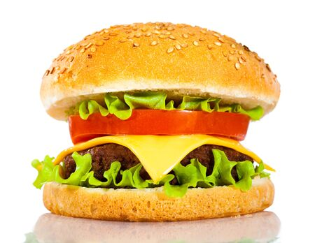american cuisine: Tasty and appetizing hamburger on a white background
