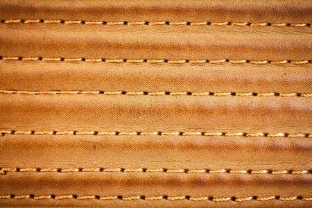 leather stitch: leather stitched by threads Stock Photo
