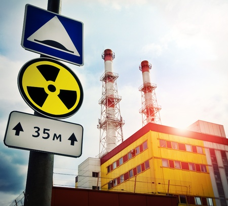 Nuclear Power Plant with Radioactivity Sign Stock Photo - 9352466