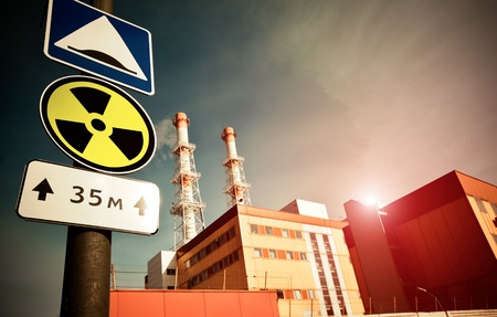 radiation pollution: Nuclear Power Plant with Radioactivity Sign Stock Photo