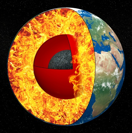 lithosphere: Earth core on a black background
