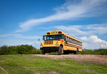 public schools: school bus against the dark blue sky