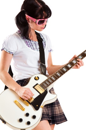 girl with a guitar on a white background photo