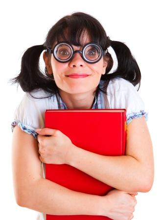 mujer fea: Chica estudiante empollón sobre un fondo blanco
