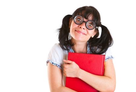mujer fea: Nerd estudiante chica sobre un fondo blanco