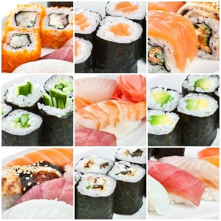 seaweed: Cocina japonesa - Roll de Sushi. Cocina japonesa tradicional Foto de archivo