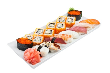 Japanese Cuisine - Sushi Roll on a white background