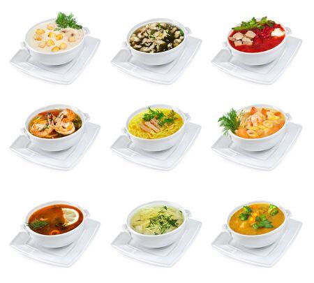 sopa de pollo: sopas en un fondo blanco