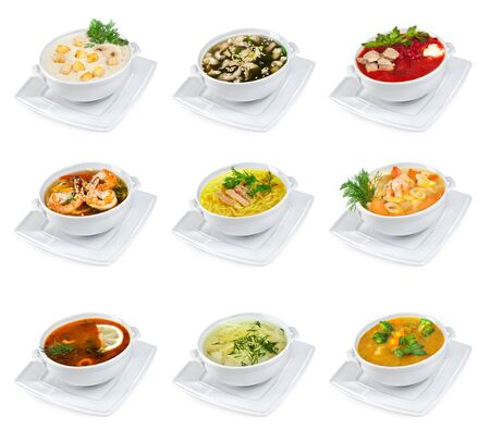 chicken noodle: soups on a white background isolated