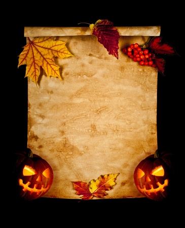 halloween lantern: Old paper with autumn leaves and pumpkin. Halloween. Stock Photo