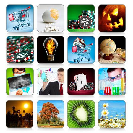 Collection of icons on white for programs and games, etc. Stock Photo - 11016428