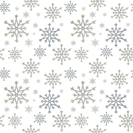 christmas wrapping paper: seamless a background from snowflakes on the white Stock Photo