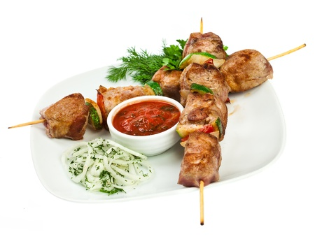 mutton: Tasty grilled meat, shish kebab on a white background