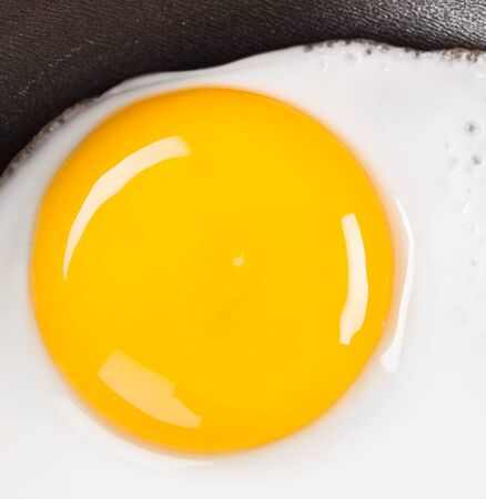 Photo of fried eggs close up, breakfast photo