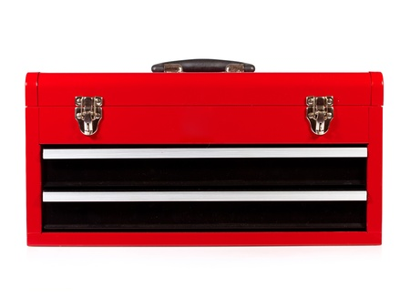 mechanic tools: red metal toolbox on a white background Stock Photo