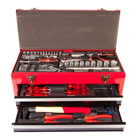 toolbox: Red box with the tool on a white background