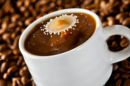Milk drop falling into a cup of coffee photo