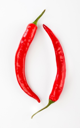 Red chilli peppers on a white background photo