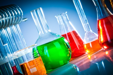 chemical industry: Test tubes on blue background