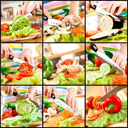 Womans hands cutting vegetables, behind fresh vegetables. photo