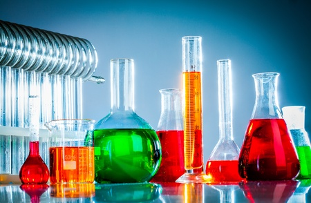 reagents: Test tubes on blue background