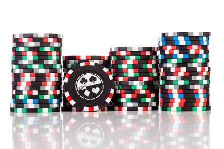 wager: gambling chips on the white