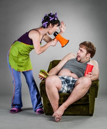 veszekedés: Quarrel a férj és a feleség Stock fotó