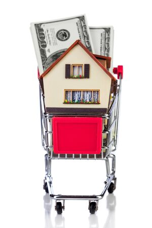 shopping cart and house on a white background photo