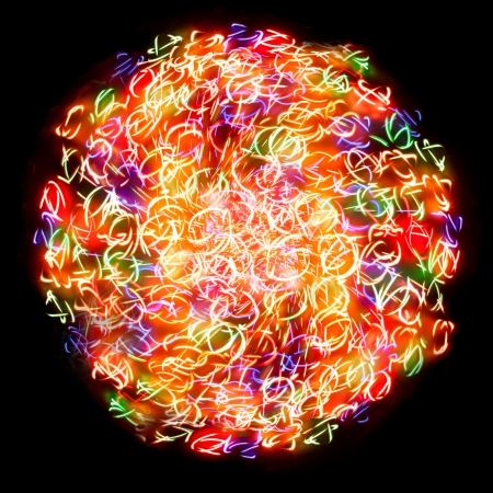 photographic effects: light sphere on a black background