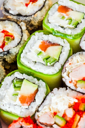 Tasty food. Sushi Roll background. photo