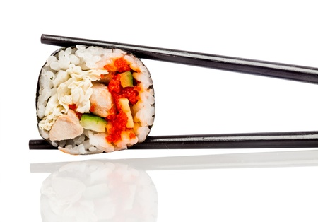 Tasty food. Sushi Roll on a white background photo