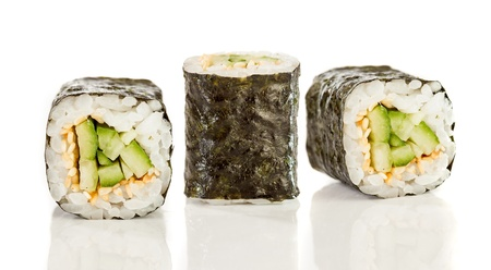 Kappa maki roll. Sushi Roll on a white background photo