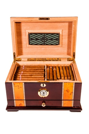 cigars: Some cigars lay in humidor Stock Photo