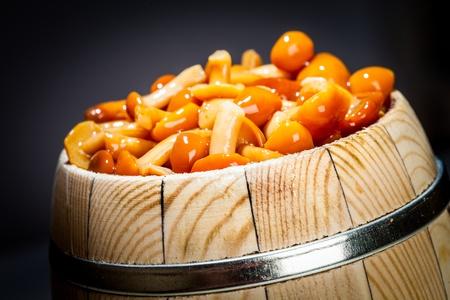 stipe: mushrooms in small barrel