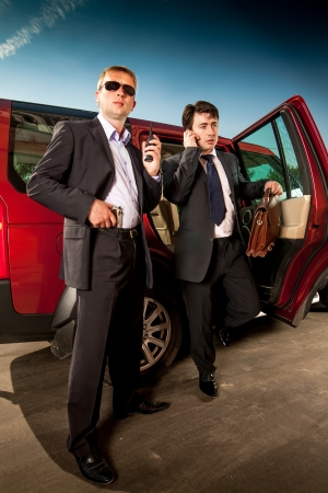 car protection: bodyguard and its boss leave the car