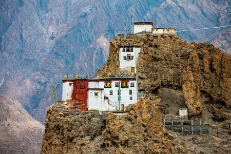 monastery nature: Dhankar gompa. Spiti Valley, Himachal Pradesh, India Stock Photo