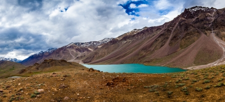 lake Chandra Taal Spiti Valley, Himachal Pradesh, India photo